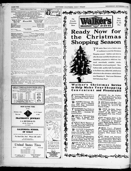 Southern California Daily Trojan, Vol. 21, No. 50, November 27, 1929
