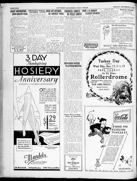 Southern California Daily Trojan, Vol. 21, No. 48, November 25, 1929
