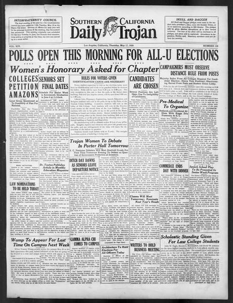 Daily Trojan, Vol. 19, No. 136, May 17, 1928