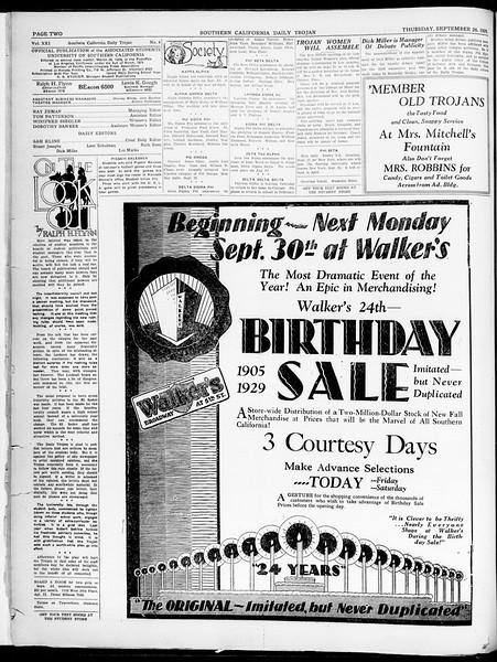 Southern California Daily Trojan, Vol. 21, No. 8, September 26, 1929