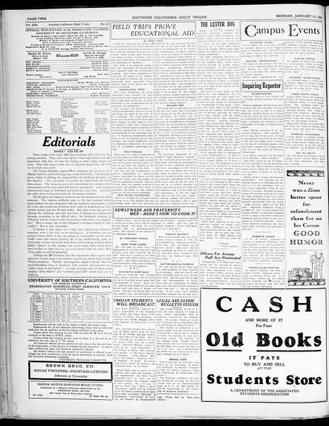 Southern California Daily Trojan, Vol. 21, No. 66, January 13, 1930