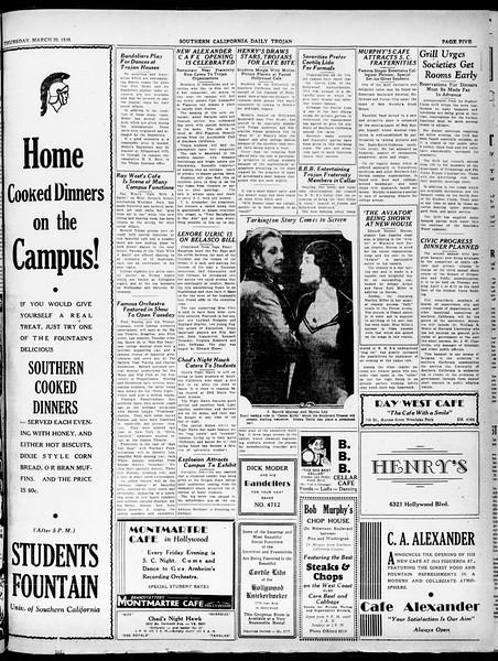 Southern California Daily Trojan, Vol. 21, No. 106, March 20, 1930