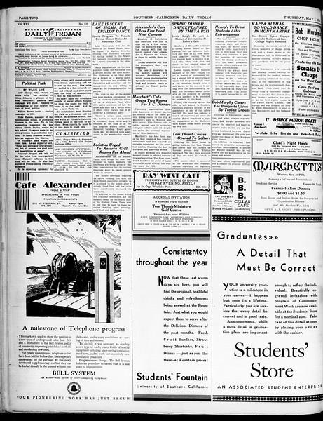 Southern California Daily Trojan, Vol. 21, No. 129, May 01, 1930