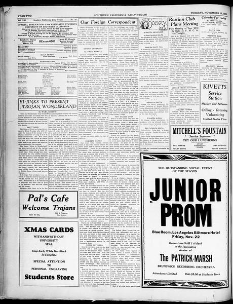 Southern California Daily Trojan, Vol. 21, No. 45, November 19, 1929