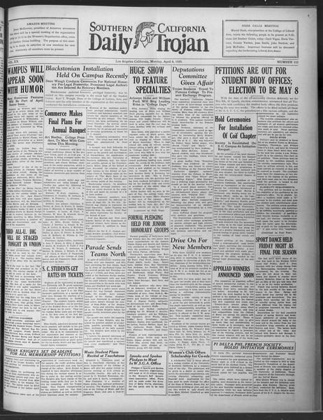 Daily Trojan, Vol. 20, No. 115, April 08, 1929
