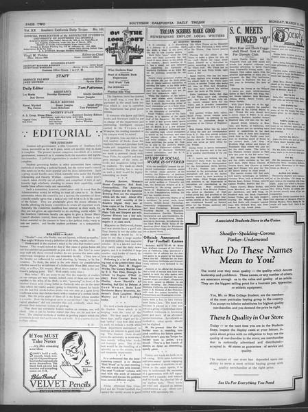 Daily Trojan, Vol. 20, No. 101, March 11, 1929