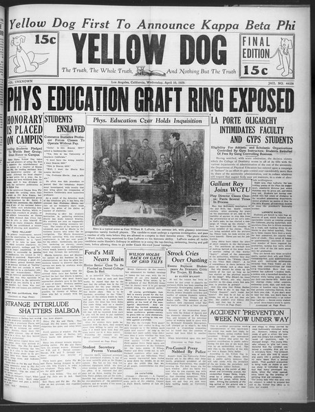 "The Yellow Dog, Vol. ""unknown"", ""Jail"" No. ""44328"", April 10, 1929"