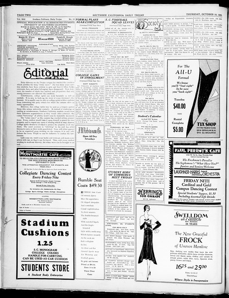 Southern California Daily Trojan, Vol. 21, No. 18, October 10, 1929