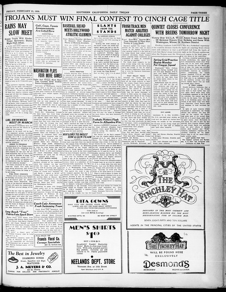 Southern California Daily Trojan, Vol. 21, No. 87, February 21, 1930