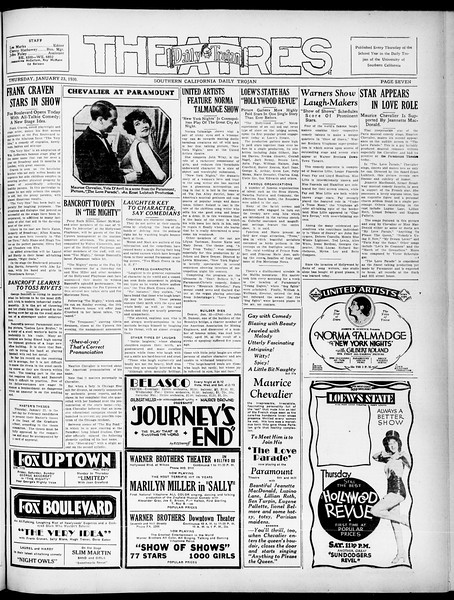 Southern California Daily Trojan, Vol. 21, No. 74, January 23, 1930