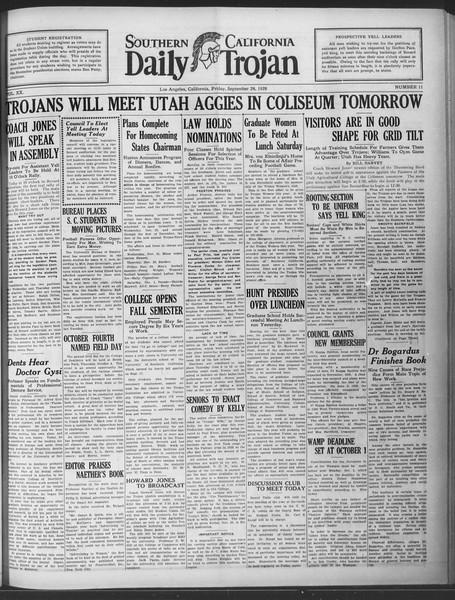 Daily Trojan, Vol. 20, No. 11, September 28, 1928