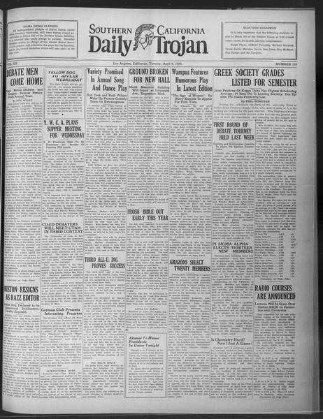 Daily Trojan, Vol. 20, No. 116, April 09, 1929