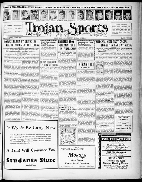Southern California Daily Trojan, Vol. 21, No. 60, January 03, 1930
