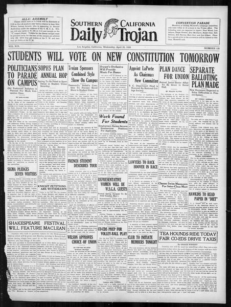 Daily Trojan, Vol. 19, No. 120, April 25, 1928