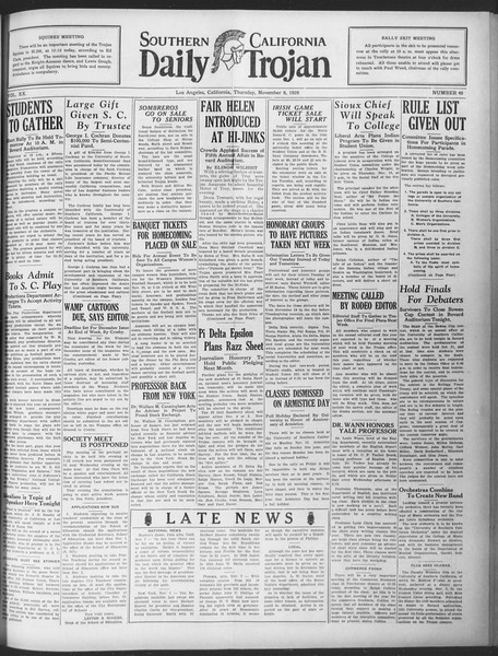 Daily Trojan, Vol. 20, No. 40, November 08, 1928
