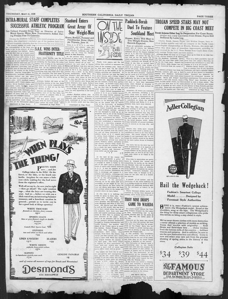 Daily Trojan, Vol. 19, No. 145, May 31, 1928