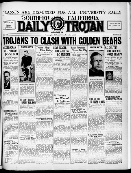 Southern California Daily Trojan, Vol. 21, No. 34, November 01, 1929