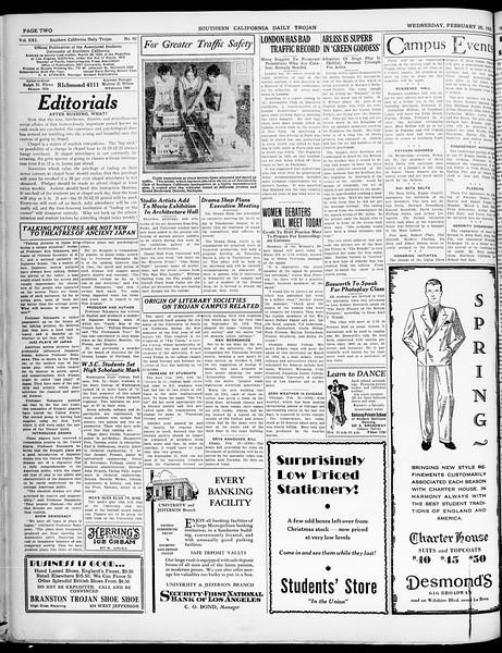 Southern California Daily Trojan, Vol. 21, No. 90, February 26, 1930