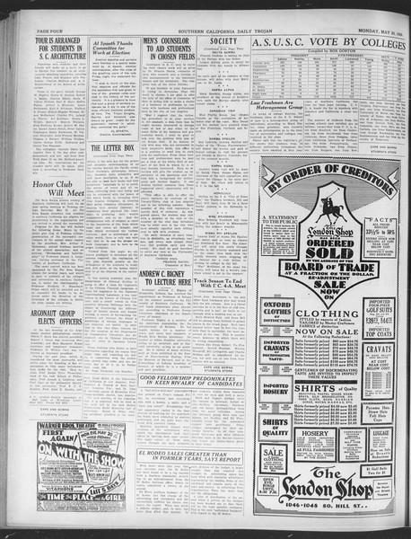 Daily Trojan, Vol. 20, No. 144, May 20, 1929