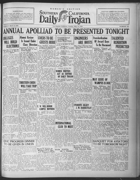 Daily Trojan, Vol. 20, No. 140, May 14, 1929