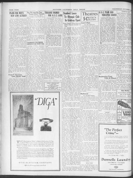 Daily Trojan, Vol. 20, No. 14, October 03, 1928