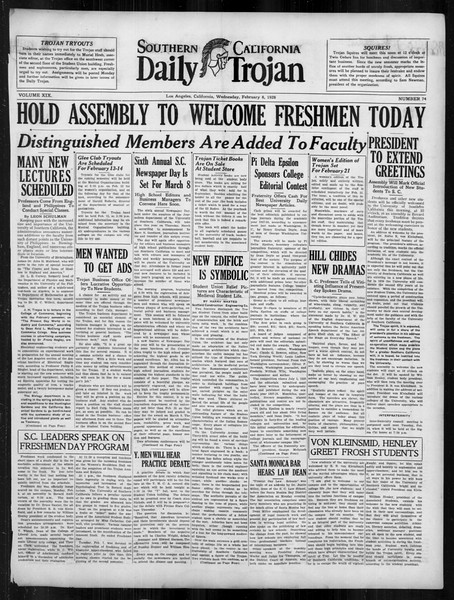 Daily Trojan, Vol. 19, No. 74, February 08, 1928