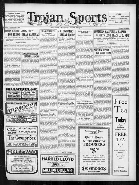 Daily Trojan, Vol. 19, No. 122, April 27, 1928