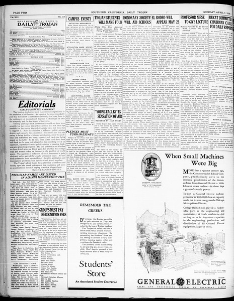 Southern California Daily Trojan, Vol. 21, No. 118, April 07, 1930