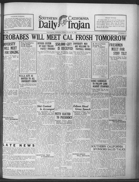 Daily Trojan, Vol. 20, No. 31, October 26, 1928