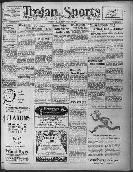 Daily Trojan, Vol. 20, No. 127, April 25, 1929