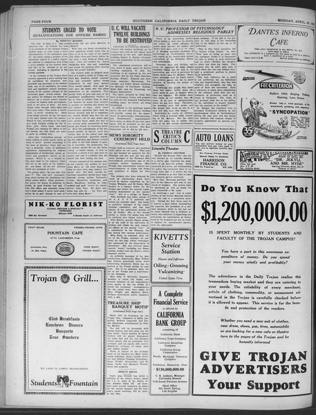 Daily Trojan, Vol. 20, No. 129, April 29, 1929