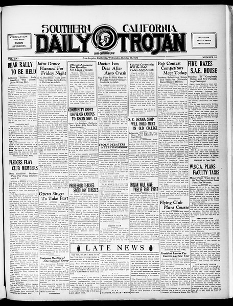 Southern California Daily Trojan, Vol. 21, No. 32, October 30, 1929