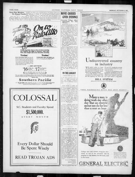Daily Trojan, Vol. 19, No. 16, October 09, 1927
