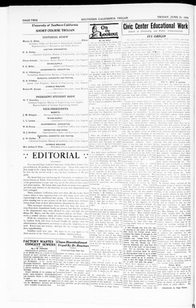 The Southern California Trojan: School of Citizenship and Public Administration, Vol. 2, No. 4, June 21, 1929