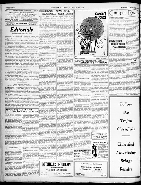 Southern California Daily Trojan, Vol. 21, No. 109, March 25, 1930