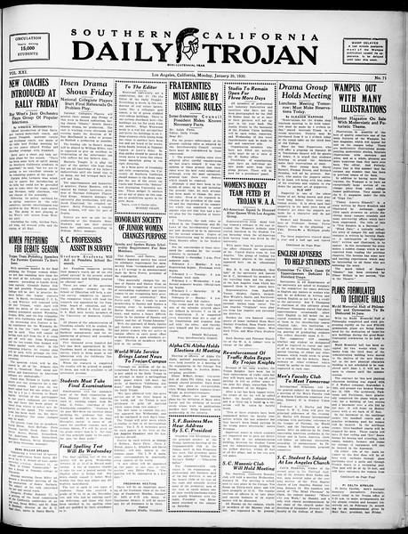 Southern California Daily Trojan, Vol. 21, No. 71, January 20, 1930