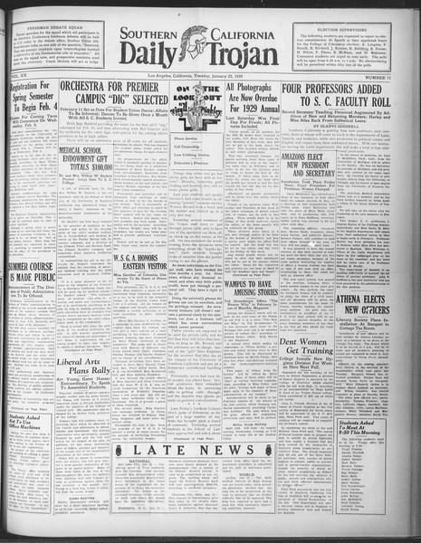 Daily Trojan, Vol. 20, No. 75, January 22, 1929