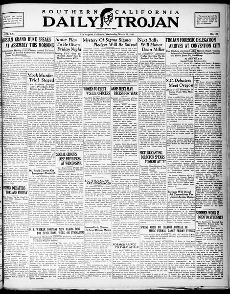 Southern California Daily Trojan, Vol. 21, No. 110, March 26, 1930