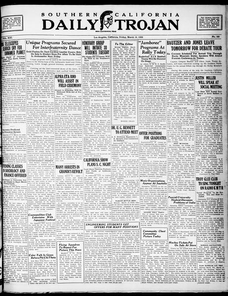 Southern California Daily Trojan, Vol. 21, No. 102, March 14, 1930