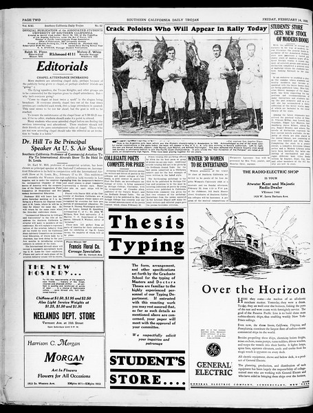 Southern California Daily Trojan, Vol. 21, No. 82, February 14, 1930