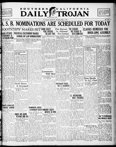 Southern California Daily Trojan, Vol. 21, No. 130, May 02, 1930