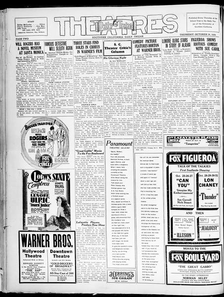 Southern California Daily Trojan, Vol. 21, No. 28, October 24, 1929