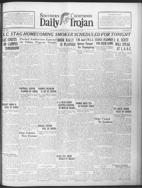 Daily Trojan, Vol. 20, No. 52, November 27, 1928
