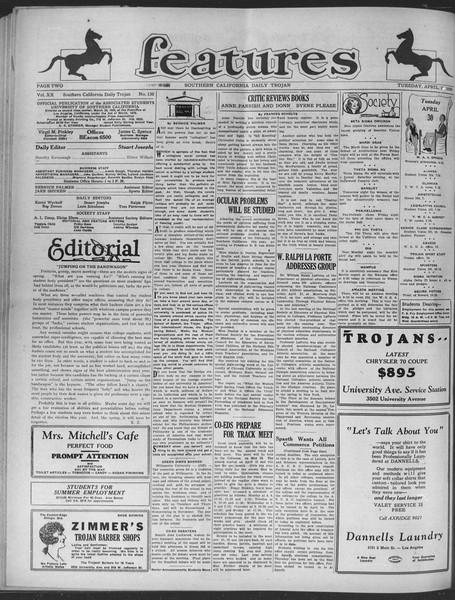 Daily Trojan, Vol. 20, No. 130, April 30, 1929