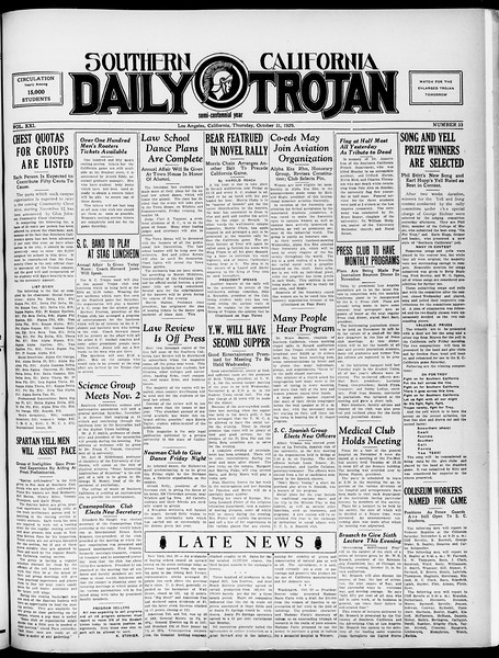 Southern California Daily Trojan, Vol. 21, No. 33, October 31, 1929