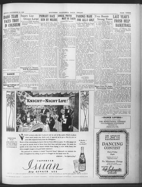 Daily Trojan, Vol. 20, No. 50, November 23, 1928