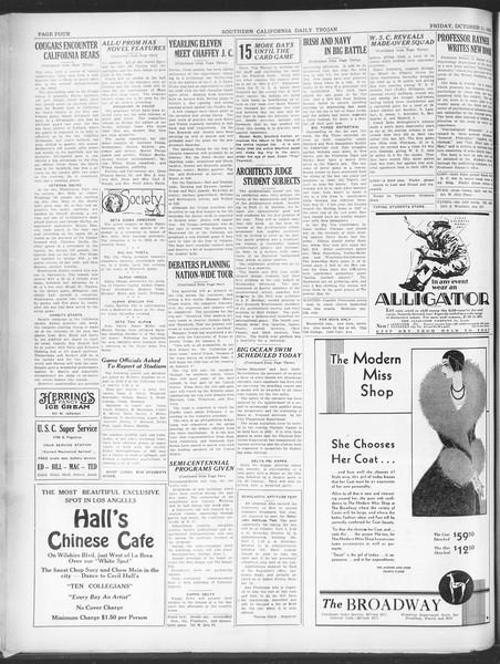 Southern California Daily Trojan, Vol. 21, No. 19, October 11, 1929