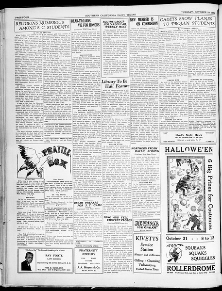 Southern California Daily Trojan, Vol. 21, No. 31, October 29, 1929