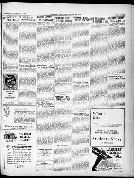 Southern California Daily Trojan, Vol. 21, No. 52, December 04, 1929