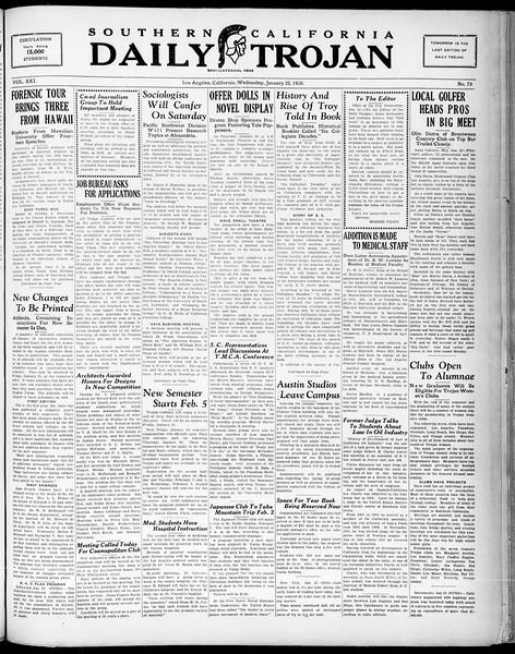 Southern California Daily Trojan, Vol. 21, No. 73, January 22, 1930